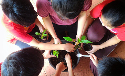 A group of five kids planting seedlings