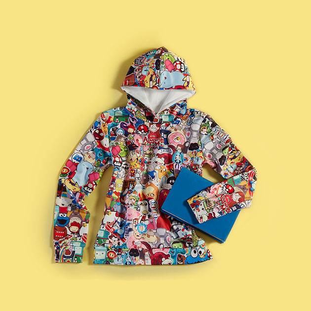 Graphic print cartoon pattern hoodie
