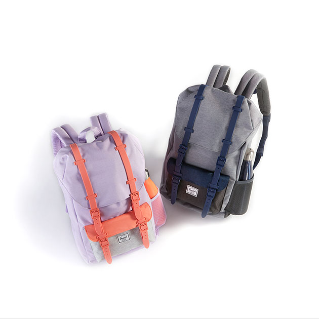 Two backpacks, one pastel purple with salmon trim and the other gray with blue trim