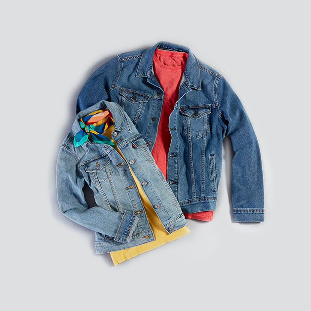 Flat lay of a boys' and girls' jean jacket