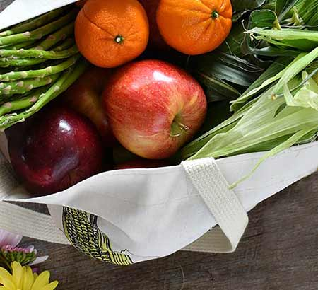 Tote bag of fruits and vegetables