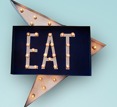 "Light-up arrow that spells out ""EAT"""