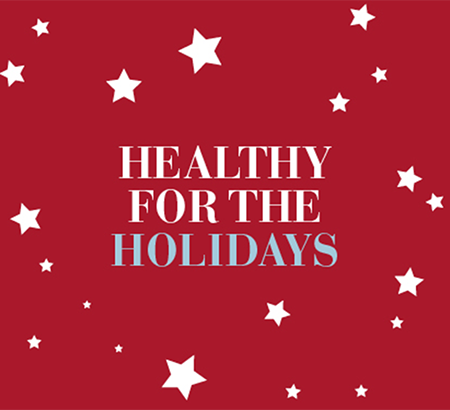 "An illustration of stars on a red background with the word ""Healthy for the Holidays"""
