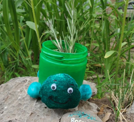 Example of the completed recycled turtle planter craft