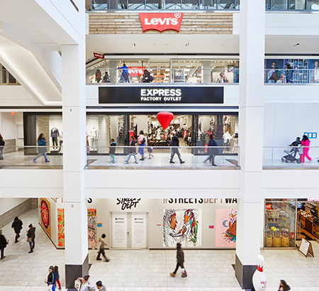 Levi's and Express Factory Outlet stores at Fashion District Philadelphia