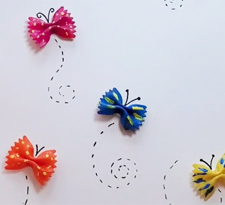 Example of the completed bowtie butterflies craft