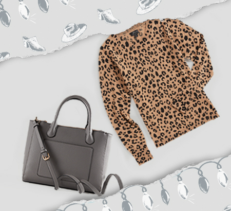 black leather hand bag and leopard print long sleeve sweather