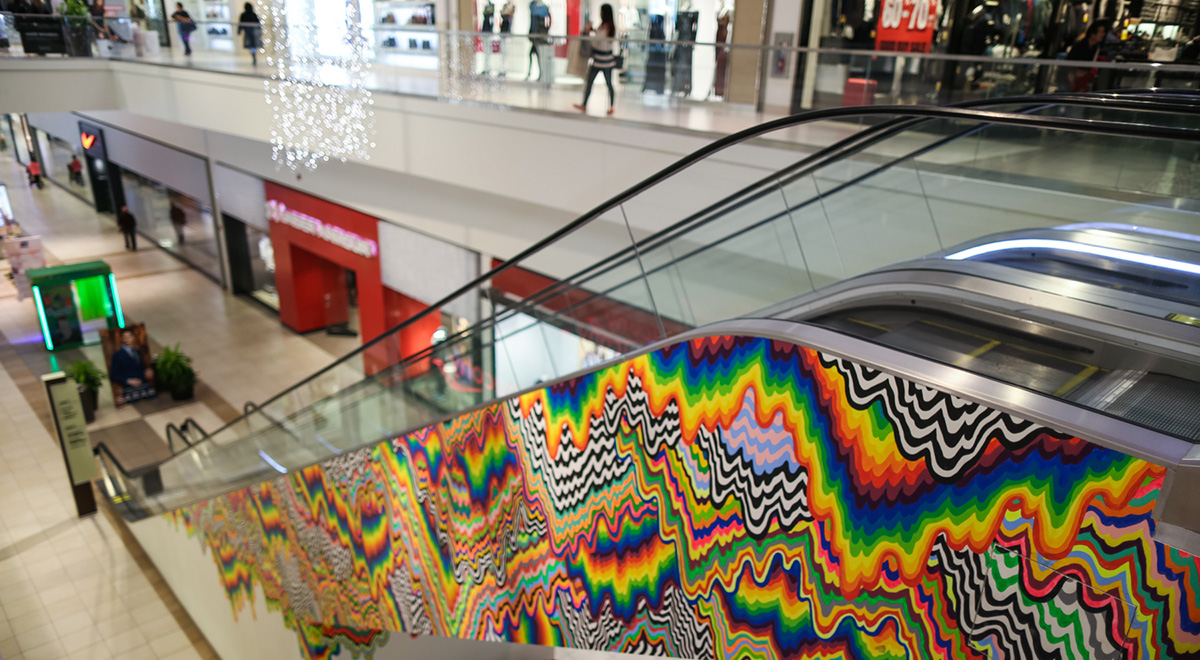 Jen Stark's Drippy Escalator Installation