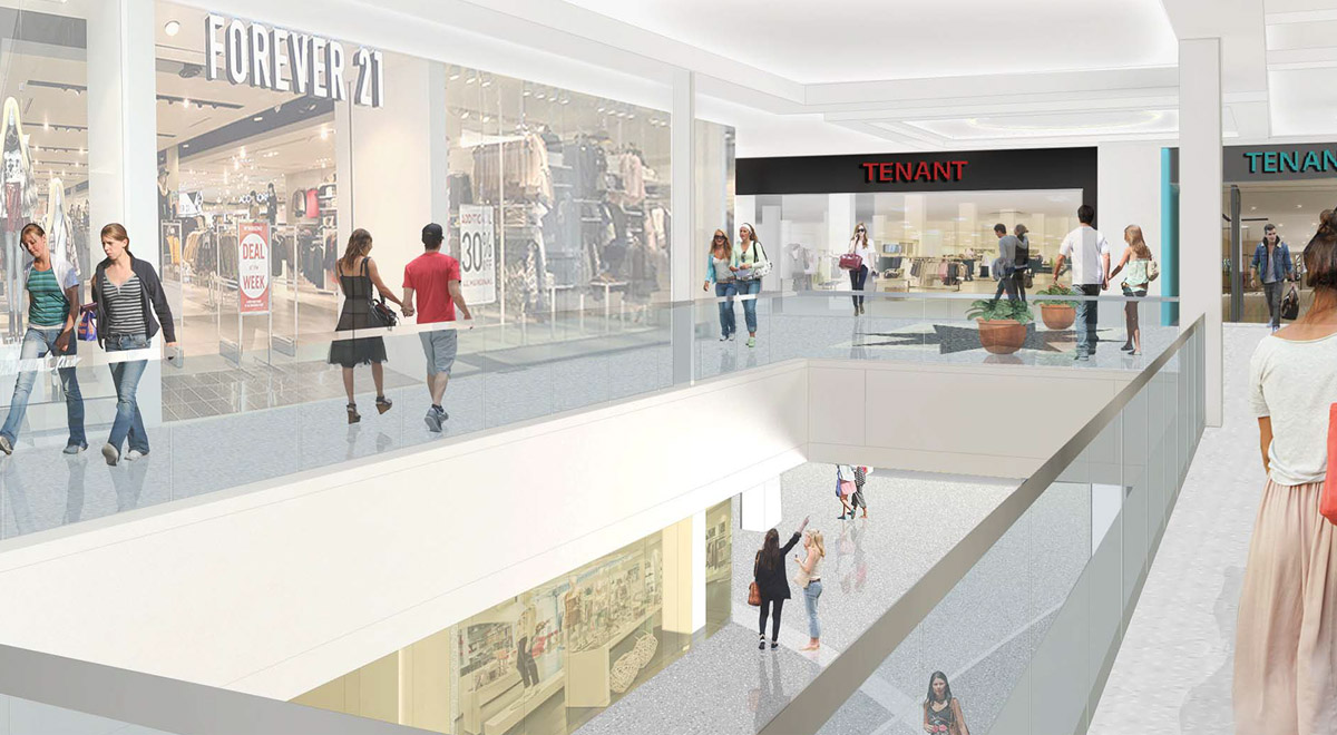 Rendering of updates to Kings Plaza interior