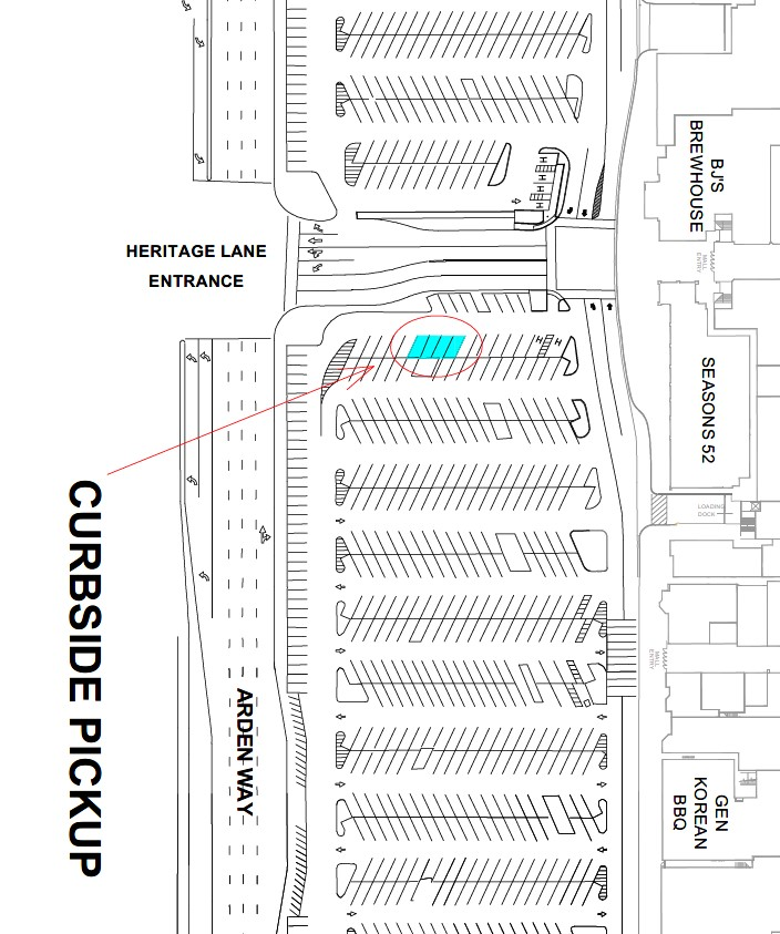 Map showing the location of Curbside Pickup at Arden Fair