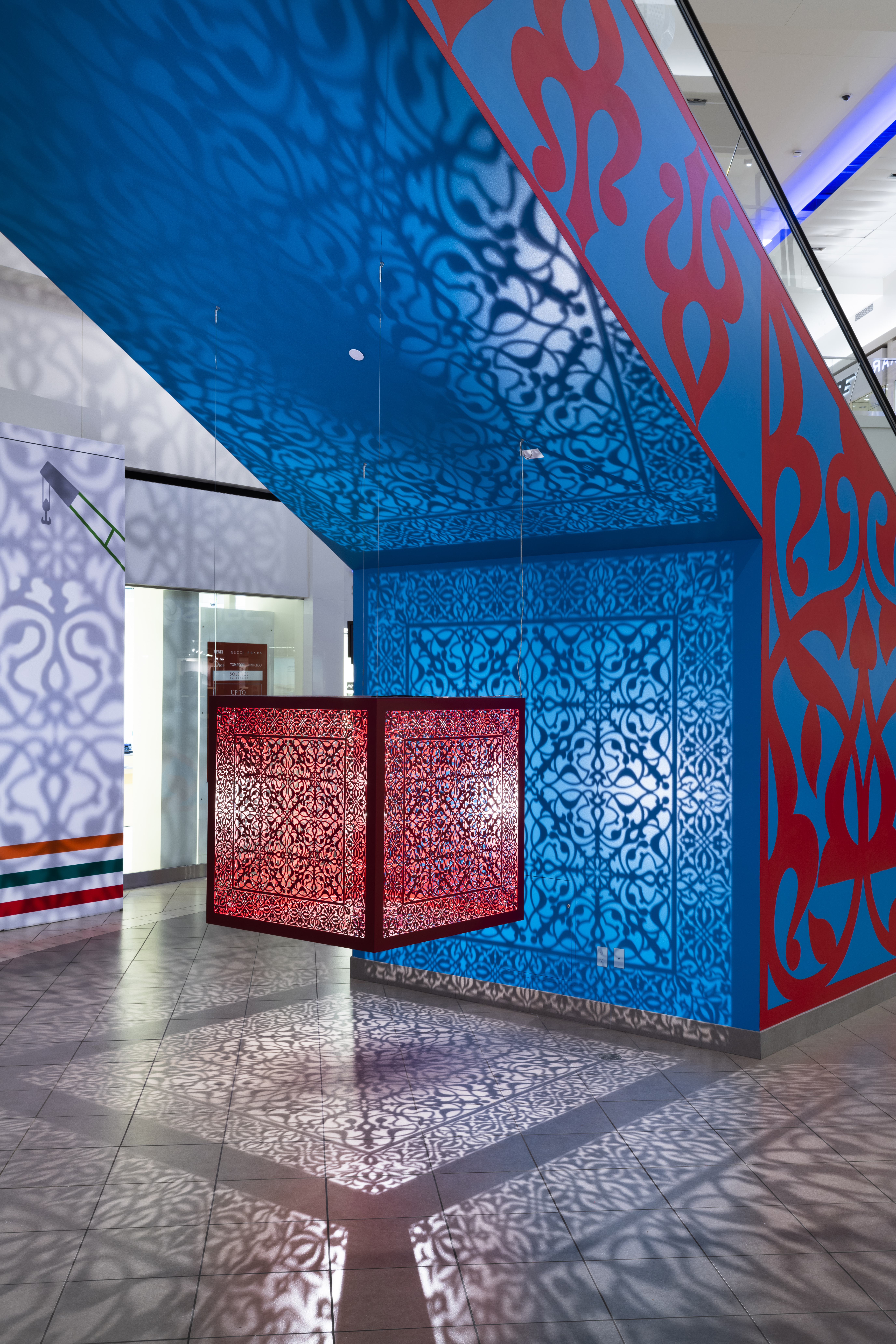 Anila Quayyum Agha - Shimmering Mirage (Red), Descent into Light, 2020