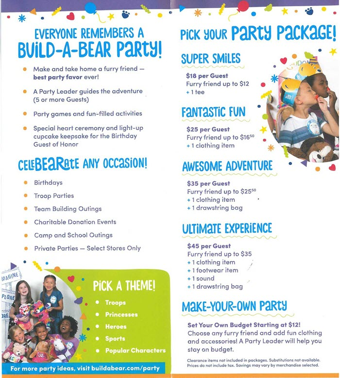 Build a Bear Party Package Options