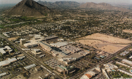 Vintage aerial view of Scottsdale Fashion Square with its department stores labeled by name