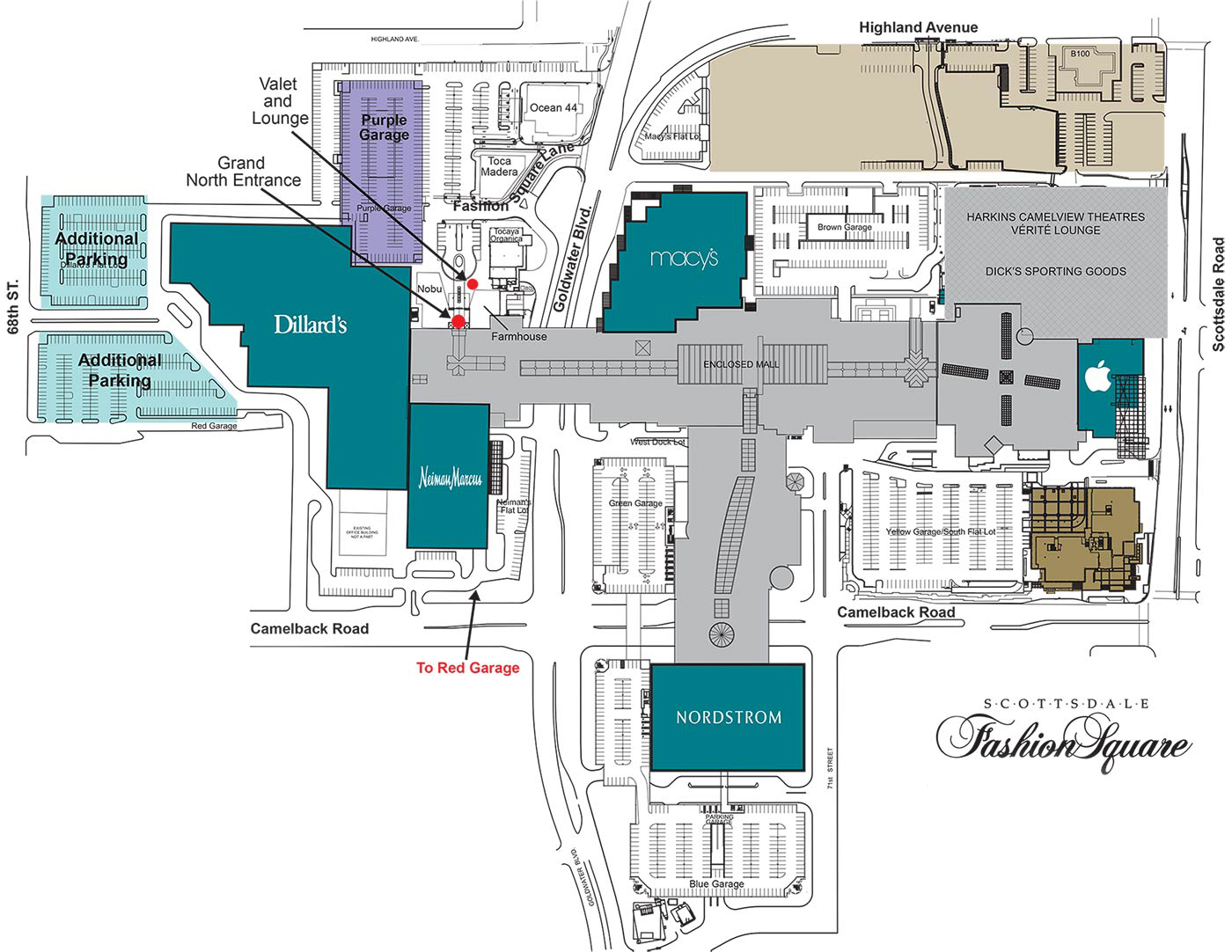 Parking Map of Scottsdale Fashion Square
