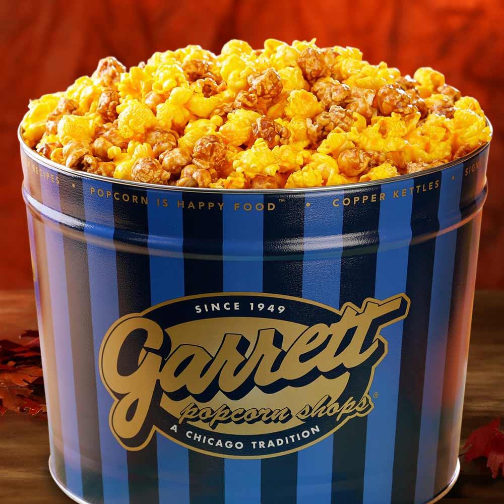 A tin of Garrett Popcorn