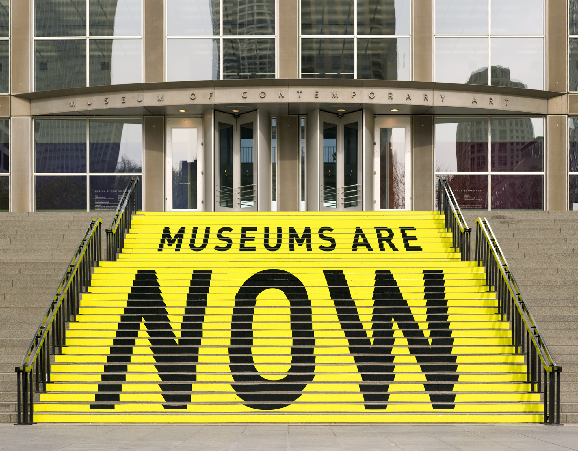 The Museum of Contemporary Art building, with a staircase that says