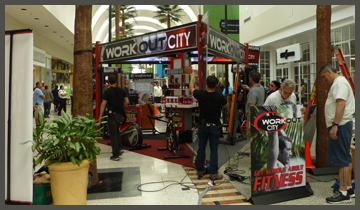 Filming setup in mall