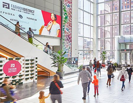 Shoppers enjoying the interior area at Fashion District Philadelphia
