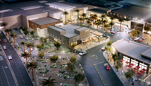 Aerial rendering of the Scottsdale Fashion Square redevelopment at night