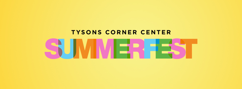 Logo stating Tysons Corner Center Summerfest over top of a yellow background