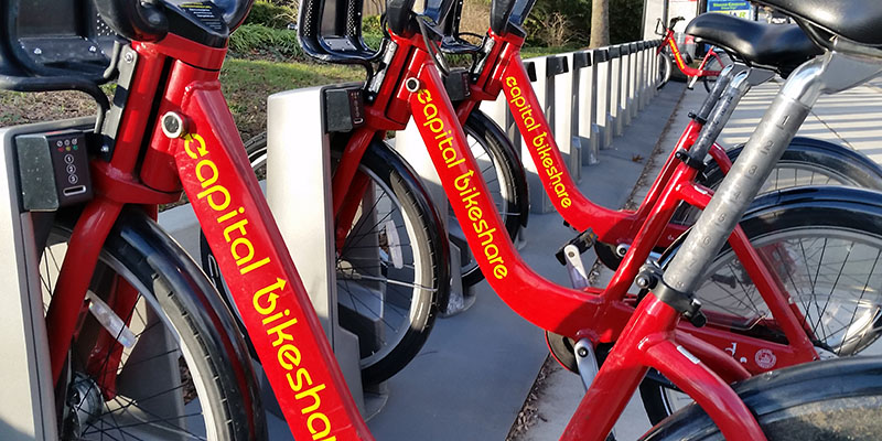 Capital Bikeshare bicycles their docking rack
