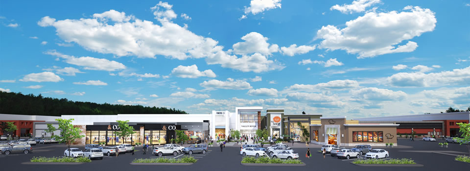 A rendering of the planned exterior renovations at Valley River Center