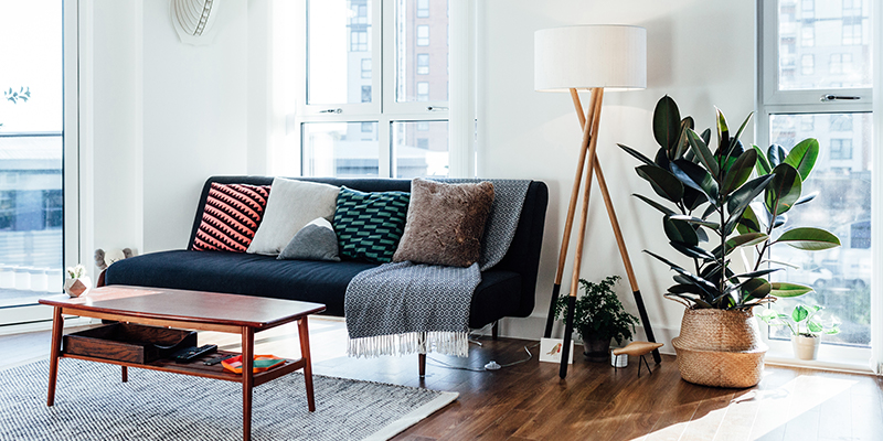 A stylish loft-style living room with sofa, coffee table, plant, and floor lamp