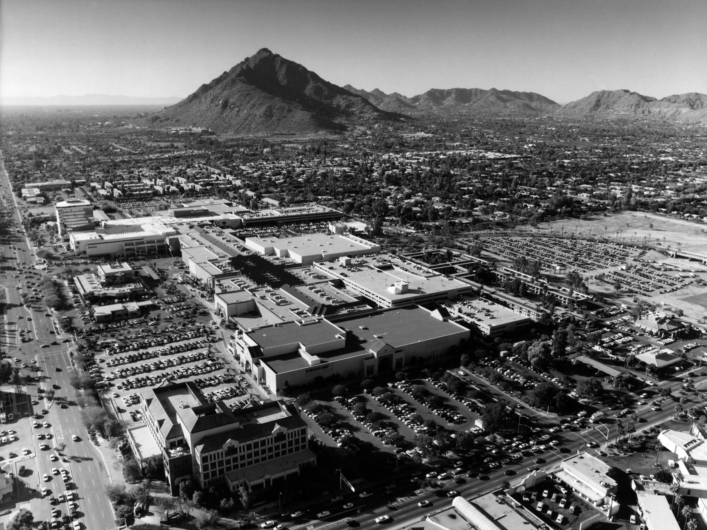 Vintage black and white aerial view of Scottsdale Fashion Square