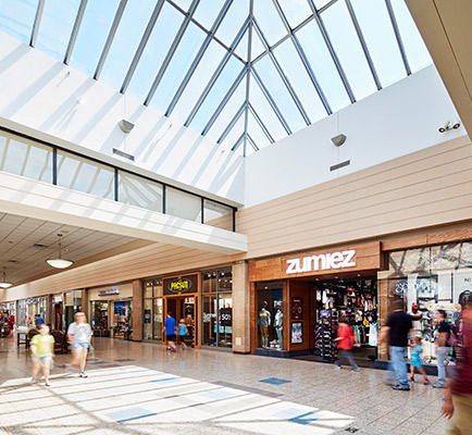 Eastland Mall's interior corridor and skylights