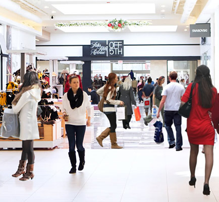Shoppers walking inside Fashion Outlets of Niagara Falls, USA
