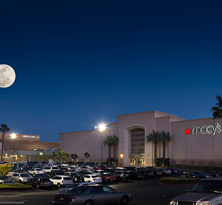 Inland Center's exterior at night