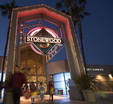 Image of Stonewood Center's exterior at night