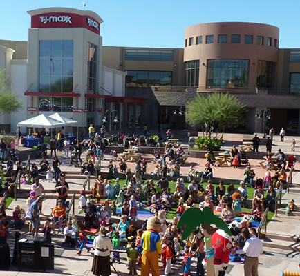 Children's entertainers performing outside Superstition Springs Center