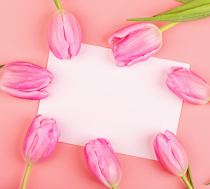 Pink tulips surrounding a greeting card envelope
