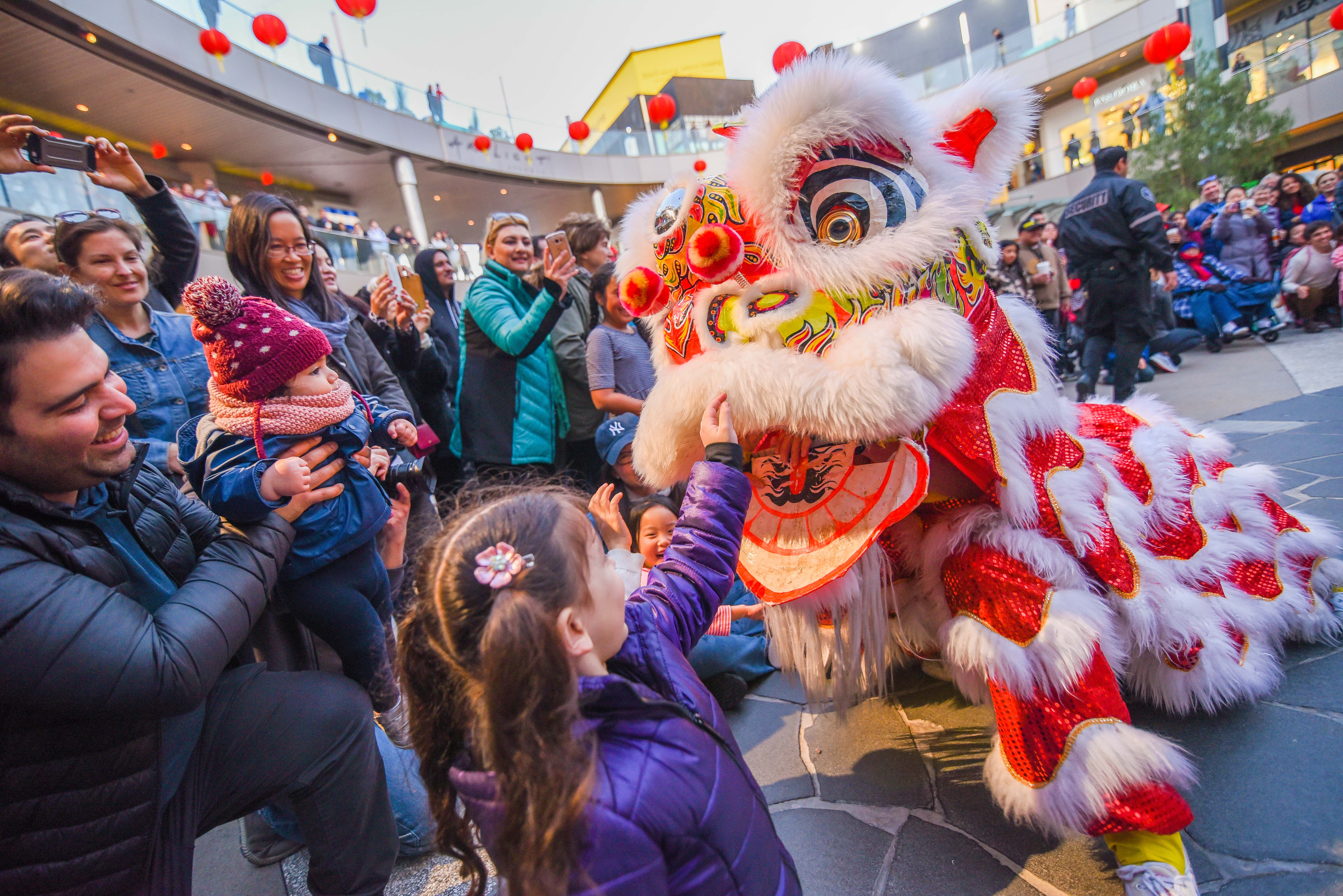 dragon performer approaching crowd during Lunar New Year celebration