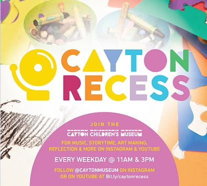 Cayton Recess flyer with information on an arts and crafts background