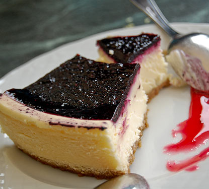 slice of blueberry cheesecake