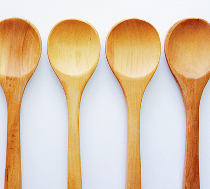 Four wooden spoons