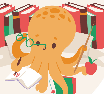 A cartoon illustration of an octopus as a teacher