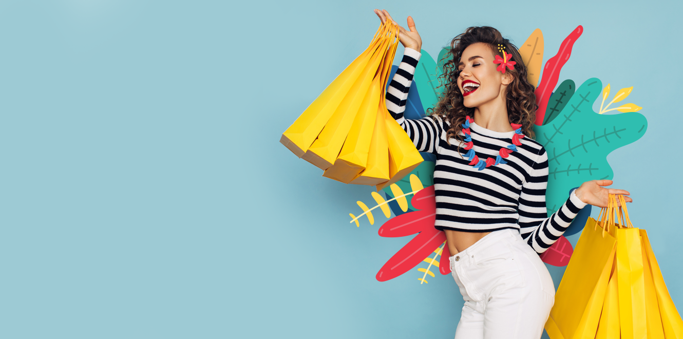 Woman in striped shirt with shopping bags