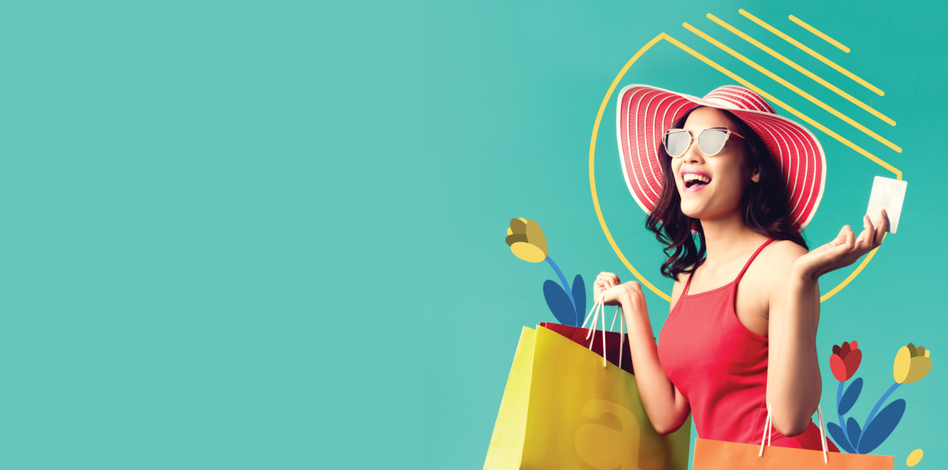 Woman in red hat with shopping bags