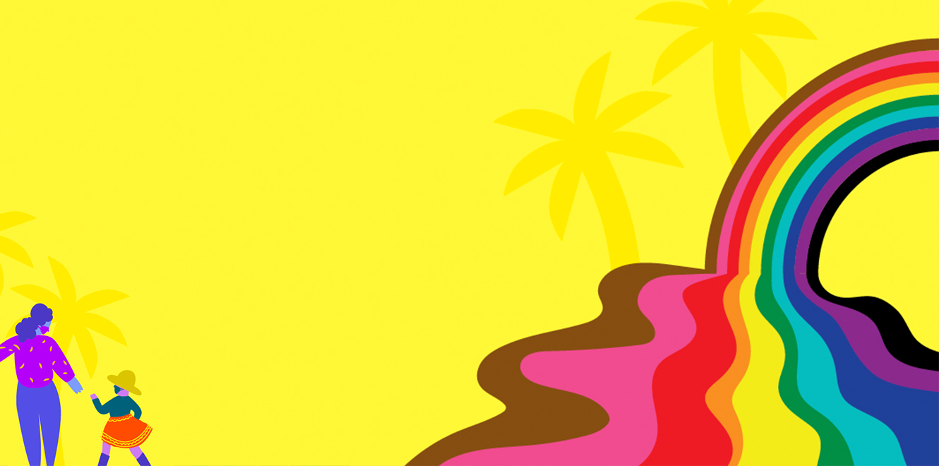 A psychedelic illustration of a melting rainbow, palm trees, and a mother and daughter holding hands