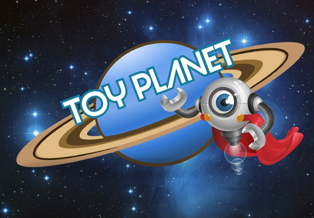 Blue and gold planet with the words Toy Planet over it.  There is also a robot with one blue eye standing beside the planet.