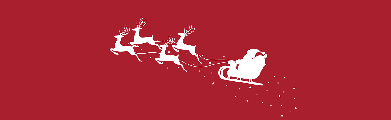 Illustration of a silhouette of Santa's sleigh being pulled by reindeer against a red background