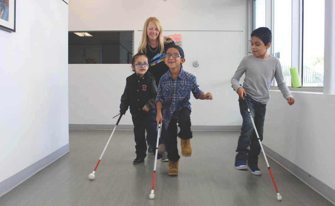 3 Foundation for Blind Children students