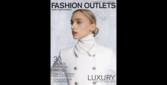 Fashion Outlets of Chicago holiday shopping guide cover, model wearing white coat