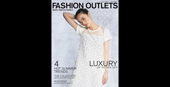 Fashion Outlets of Chicago summer shopping guide cover, model in white dress