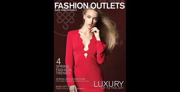 Fashion Outlets Spring Shopping Guide cover, model wearing red dress
