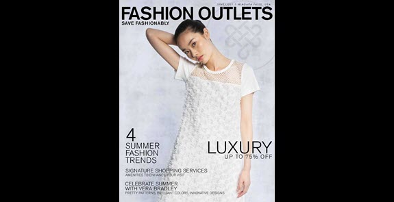 Fashion Outlets of Niagara Falls summer shopping guide cover, model in white dress