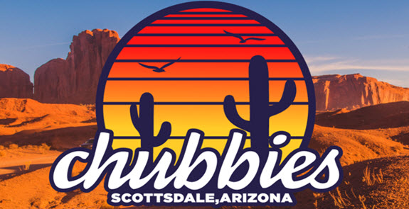 Image of Chubbies logo against desert background